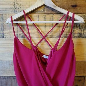 Tobi Red Crisscross Bodysuit Med
